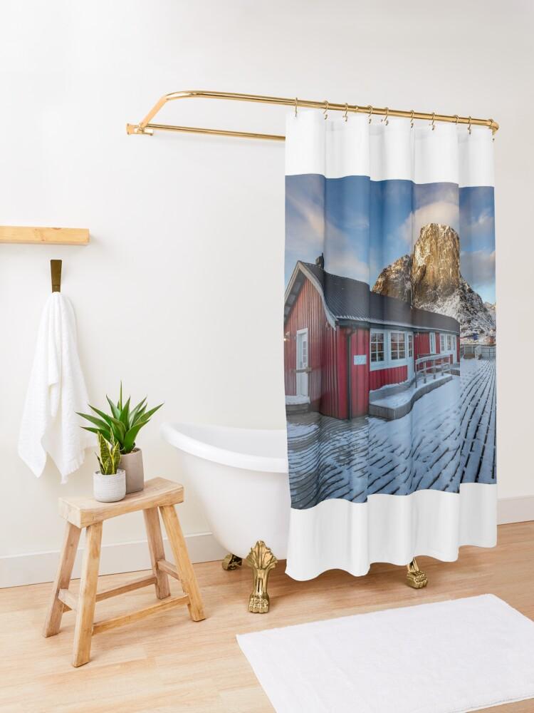 Alternate view of Hamnoy Hut Shower Curtain