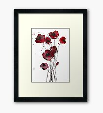 Red poppies - watercolor flowers Framed Print