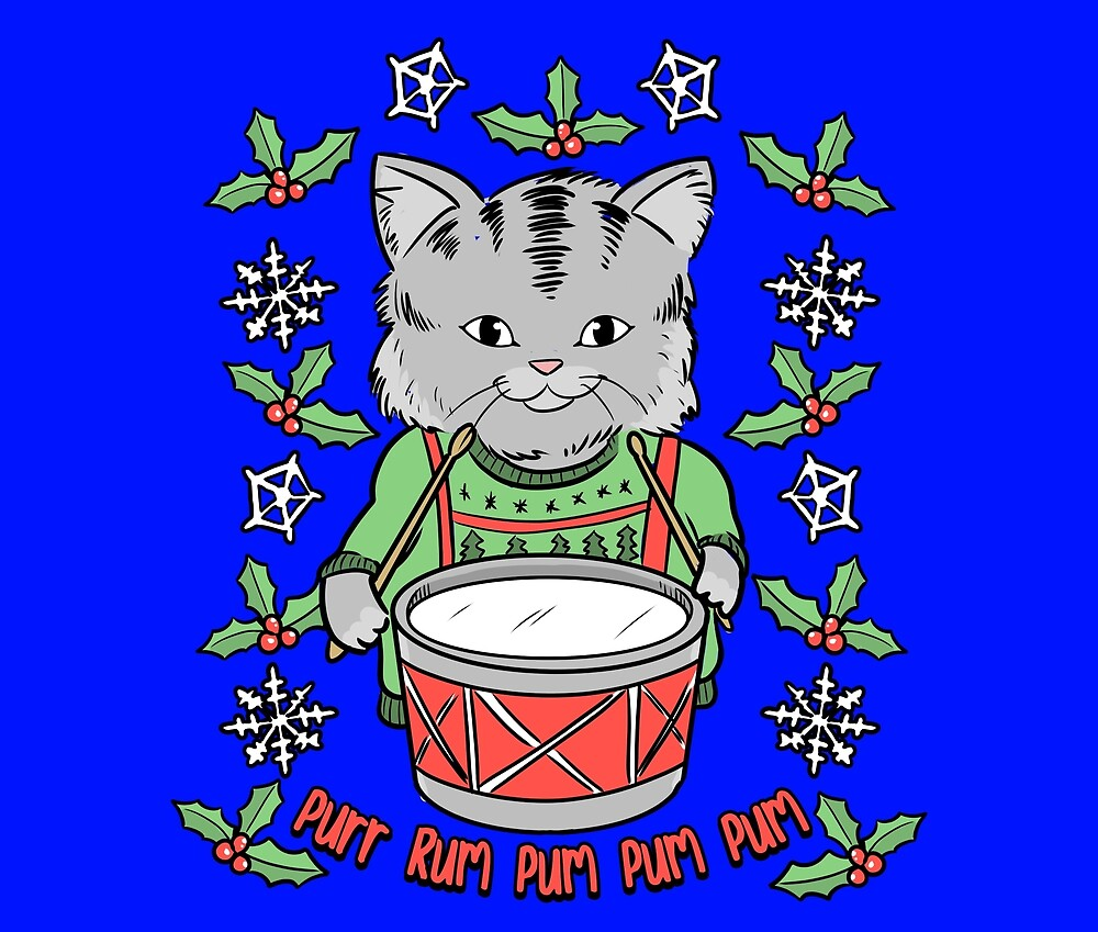 Little Drummer Cat | Vintage Christmas Kitty by Kittyworks