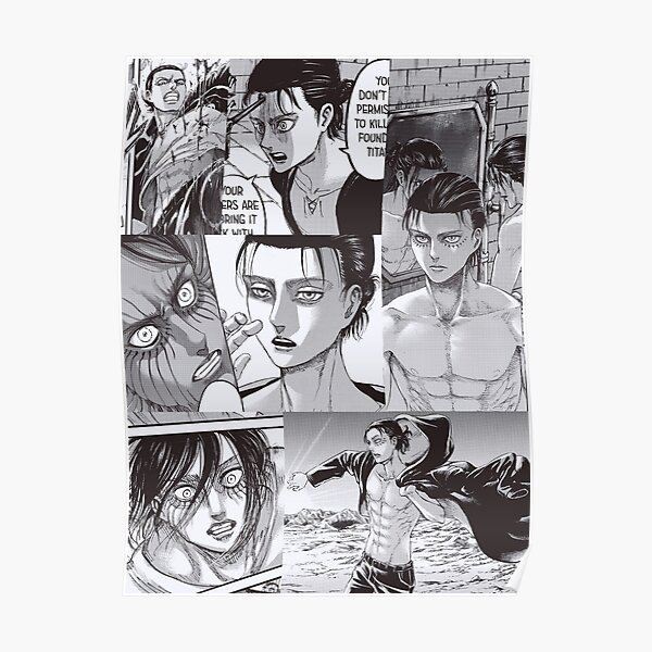 Eren Yeager Attack On Titan Poster By Sophiesnk Redbubble