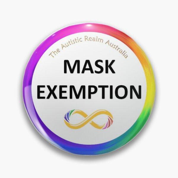 Mask Exemption Black writing Pin