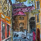 Watercolor Sketch - Genève, Old Town, Rue Chasse-Coq by Igor Pozdnyakov