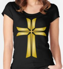 Golden Cross Christian Religious Symbol Women's Fitted Scoop T-Shirt