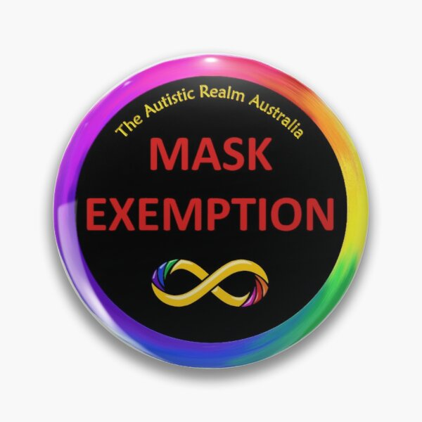 Mask Exemption Red on Black Pin