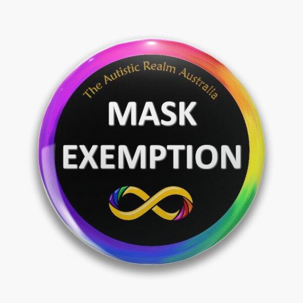 Mask Exemption White on Black Pin