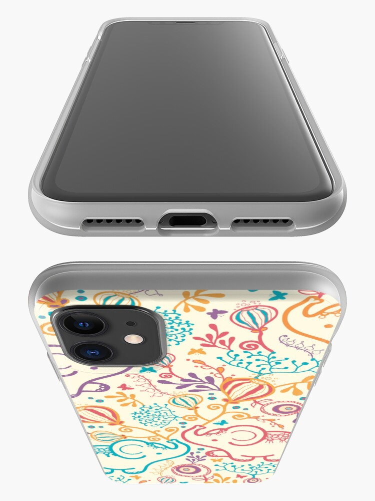 Alternate view of Elephants with bouquets pattern iPhone Case & Cover