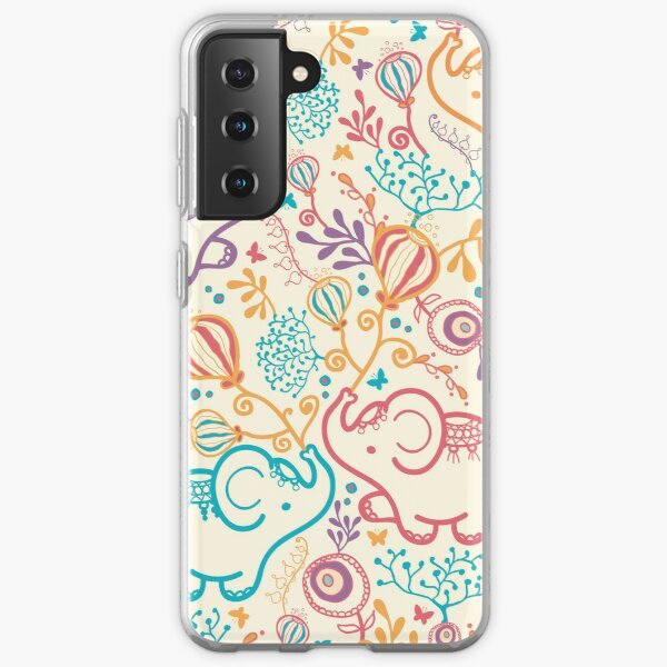 Elephants with bouquets pattern Samsung Galaxy Soft Case