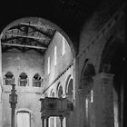 From apse to west door showing easter cndle and altar San Clemente Torre di Passeri 19840407 0017  by Fred Mitchell