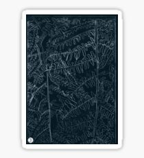 Woodland ferns acrylic plate etching, white ink on black paper Sticker