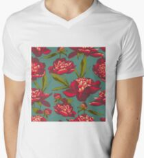 floral background with peonies  Men's V-Neck T-Shirt