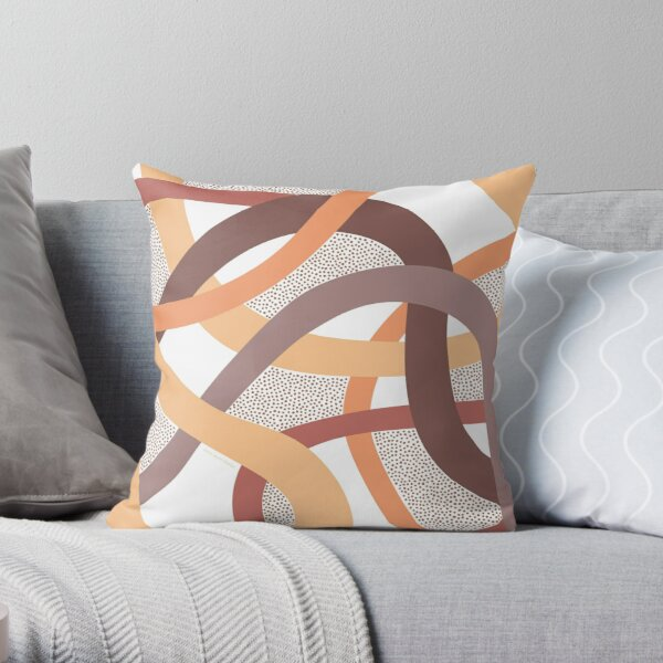 Coral Curves Throw Pillow