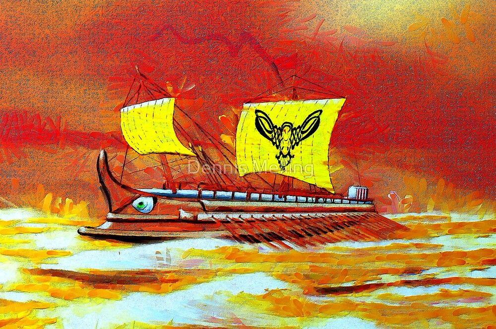 A digital painting of a 7th to the 4th century BCE Greek Trireme  by Dennis Melling
