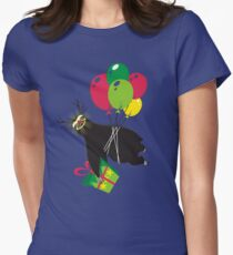 Funny sloth reindeer flying balloons Christmas prezzie Womens Fitted T-Shirt
