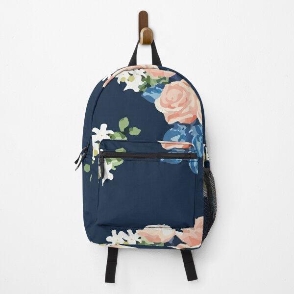 Navy Pattern Pink Pastel Rose Flowers Backpack