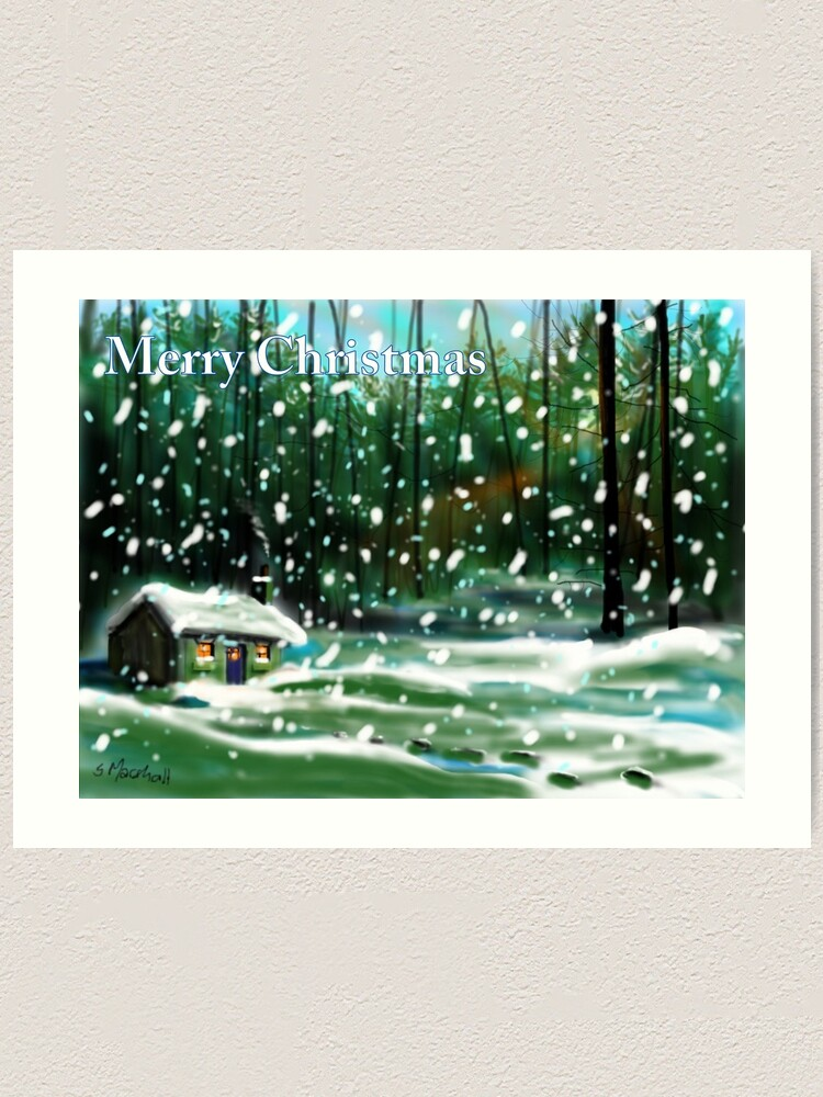 Alternate view of Cottage in the Snow Art Print
