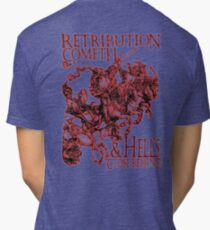 Four Horsemen of the Apocalypse, Durer, Retribution Cometh & Hell's Close behind! Biblical, red shadow on black Tri-blend T-Shirt