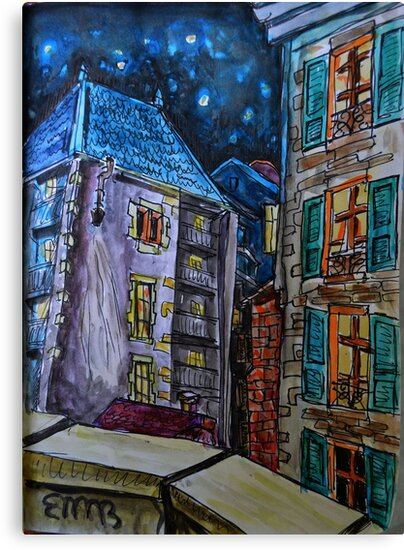 Watercolor Sketch - Genève, Old Town.  A Passage off Rue Bemont. 2013 by Igor Pozdnyakov