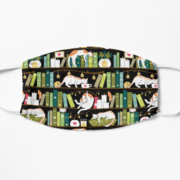 Library cats - whimsical cats on the book shelves  Mask