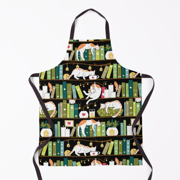 Library cats - whimsical cats on the book shelves  Apron
