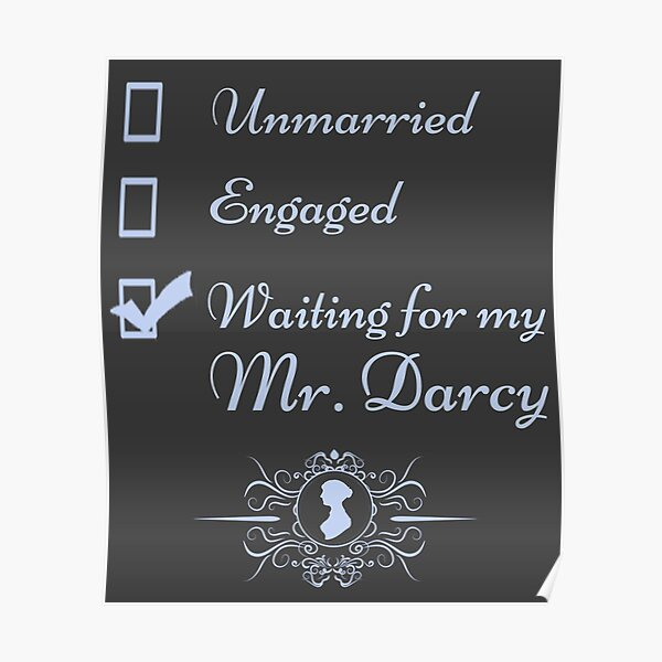 Funny Jane Austen Vintage Book Club Waiting for Mr. Darcy  Poster