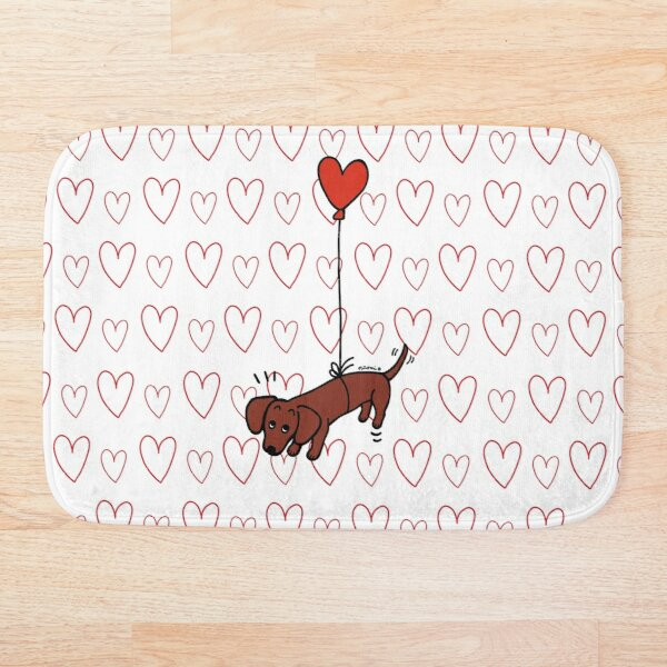 Red Smooth Haired Dachshund Floating in the Air Bath Mat