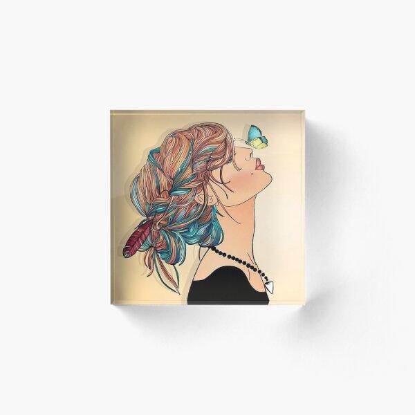 Simple Colorful Butterfly Woman Art  Boho Style Fashion Mood Acrylic Block