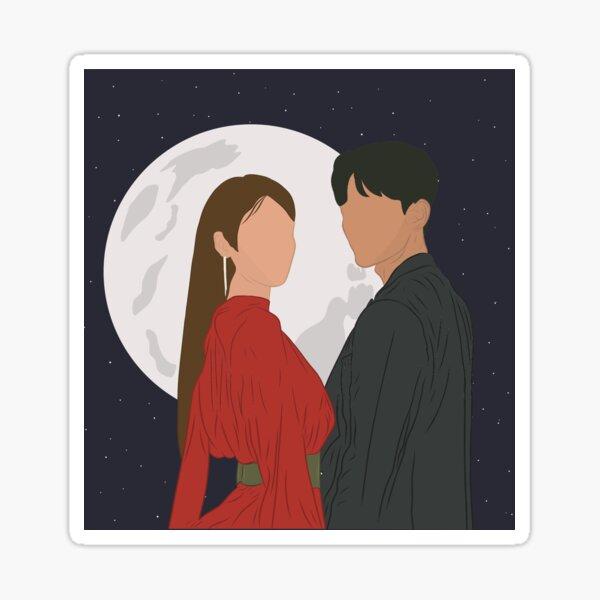 IU y Yeo Jin-Goo del Hotel Del Luna (KDRAMA) Pegatina