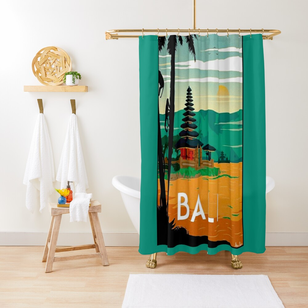 BALI : Vintage Travel and Tourism Advertising Print Shower Curtain