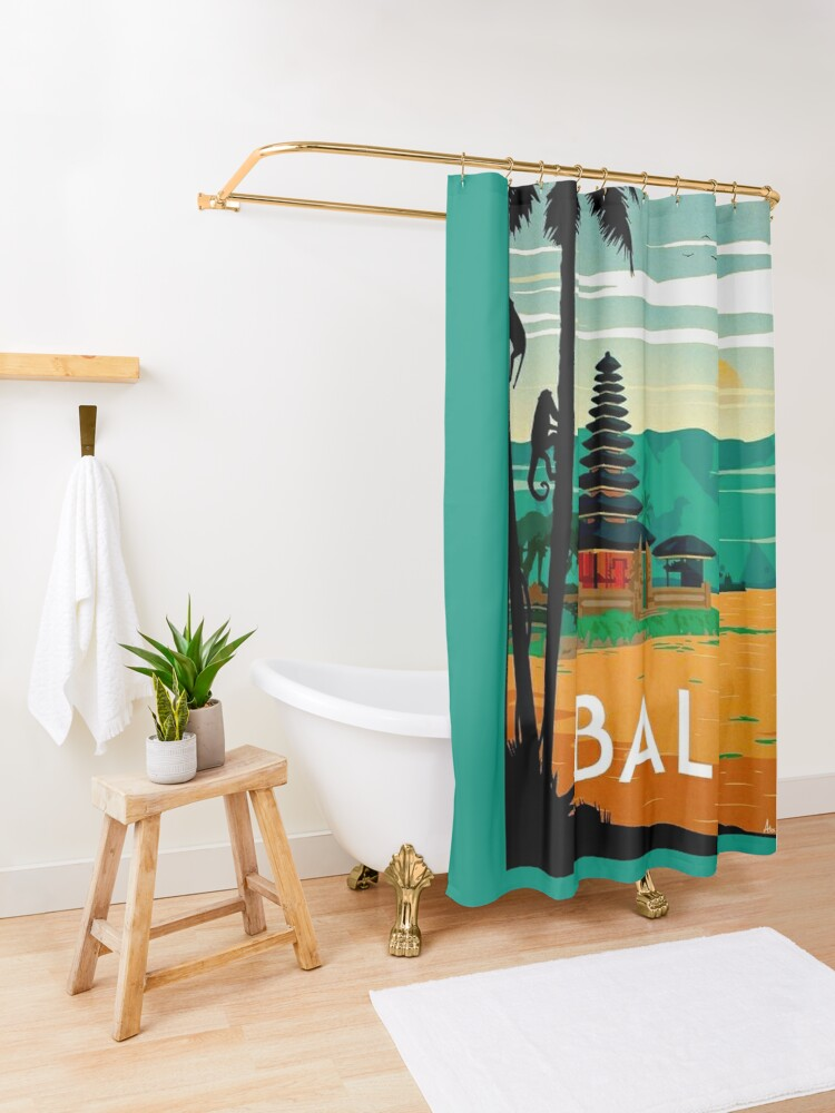 Alternate view of BALI : Vintage Travel and Tourism Advertising Print Shower Curtain