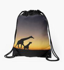 Giraffe silhouettes at sunset Drawstring Bag