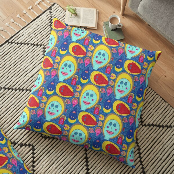Collection of Saints in Blue Floor Pillow