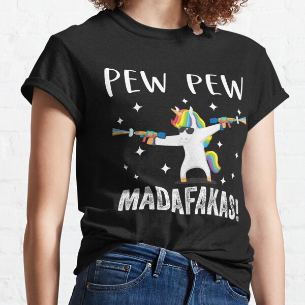 Unicorn Pew Pew Madafakas Vintage Funny Licorne Amoureux T-shirt classique