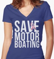Mens Breast Cancer Save Motorboating Women's Fitted V-Neck T-Shirt
