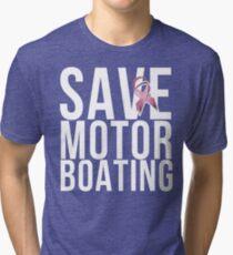 Mens Breast Cancer Save Motorboating Tri-blend T-Shirt
