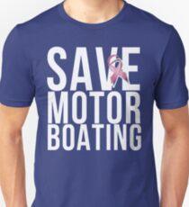 Mens Breast Cancer Save Motorboating T-Shirt