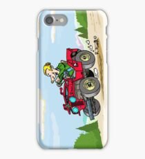 Red Willys CJ2A jeep on mountains (1) iPhone Case/Skin