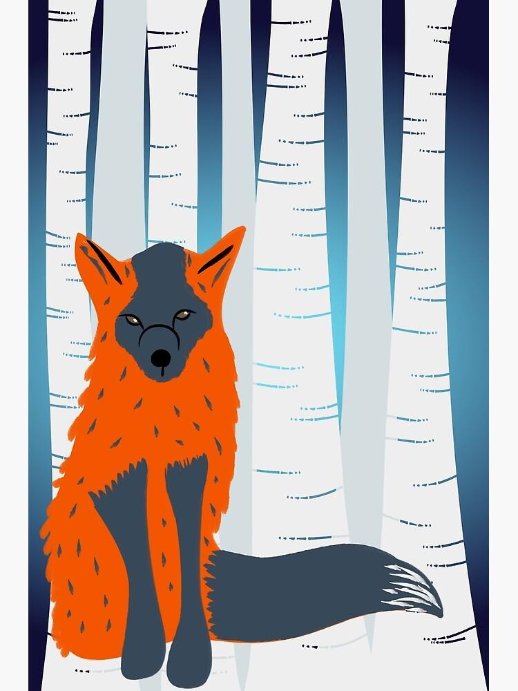 Melanistic Red Fox, Birch Trees Background by awkwarddesignco