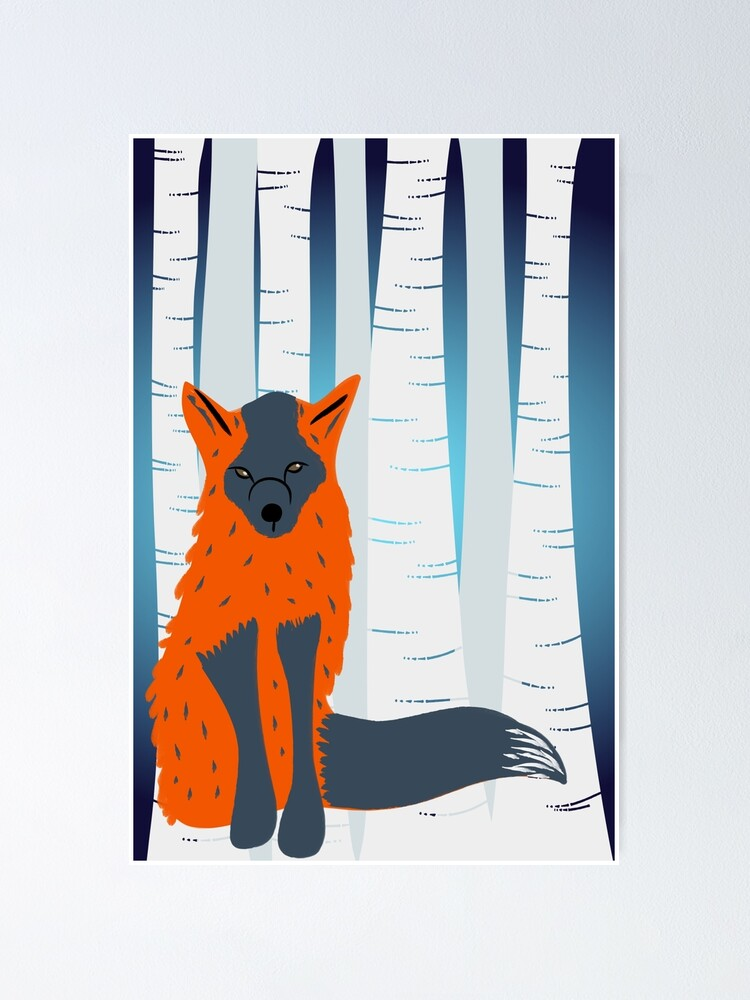 Alternate view of Melanistic Red Fox, Birch Trees Background Poster