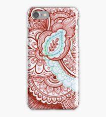 Patriotic Red White And Blue Henna Tattoo Mandala Design iPhone Case/Skin
