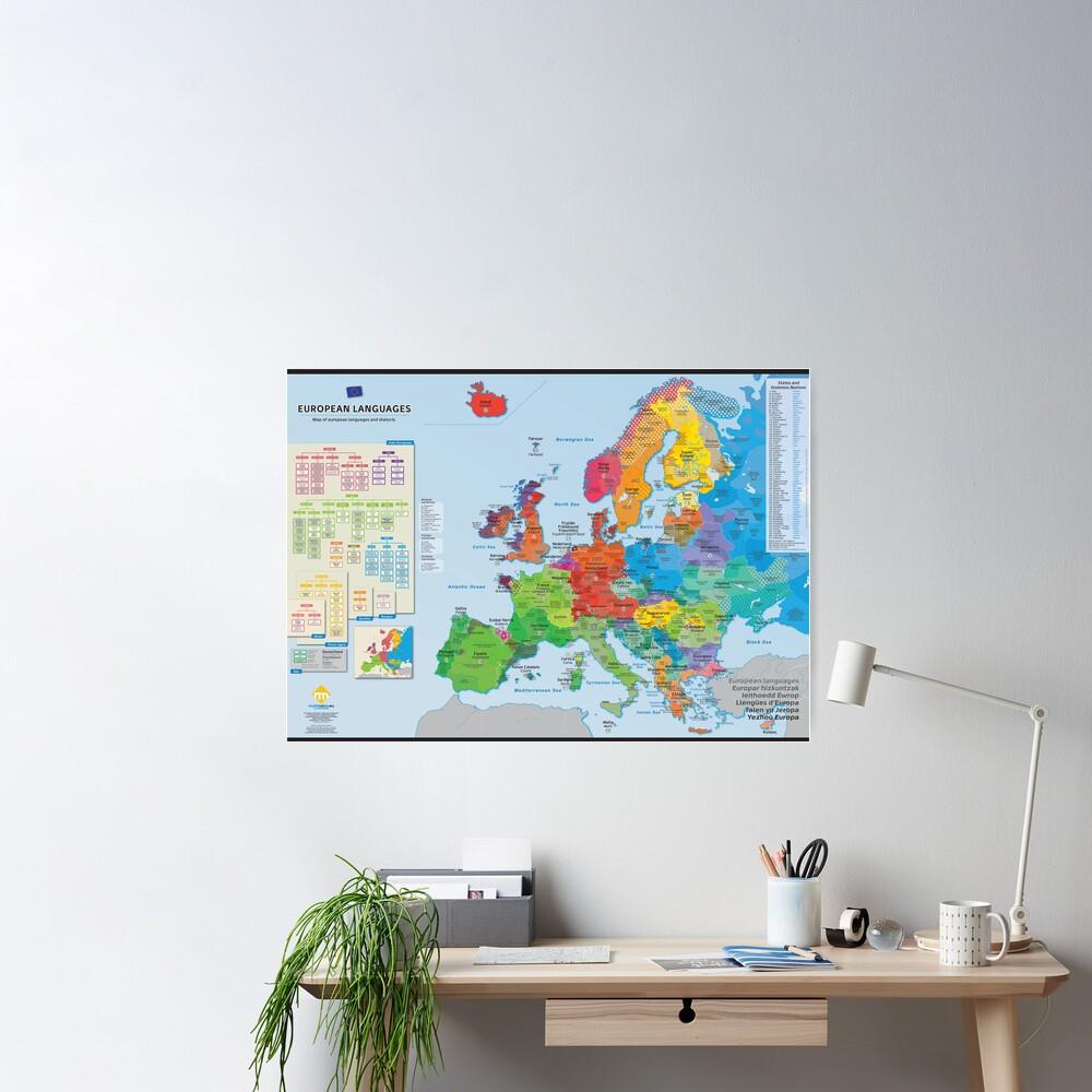 """Poster «""""European languages"""" : Carte des langues d'Europe (en anglais)»"""