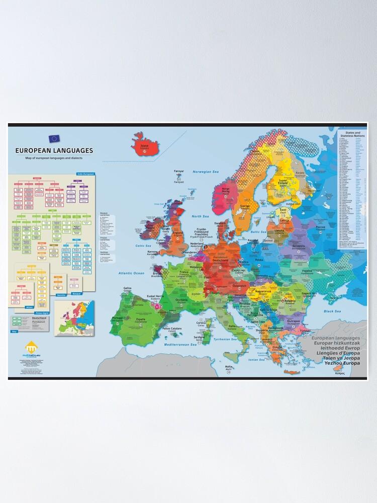 """Poster ''""""European languages"""" : Carte des langues d'Europe (en anglais)': autre vue"""