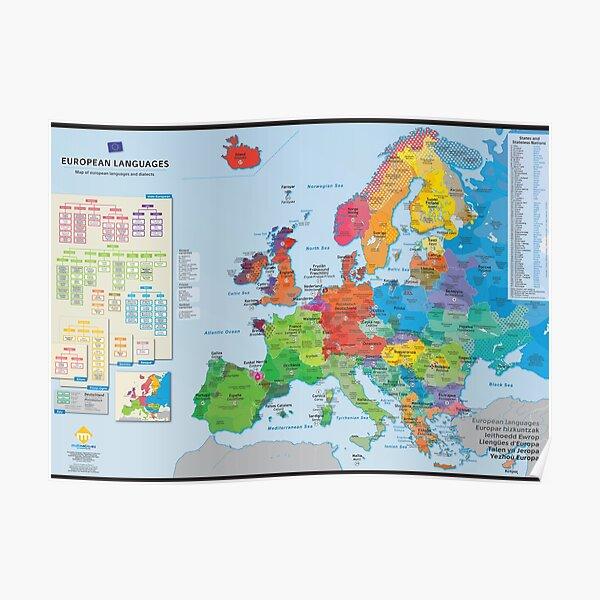 """""""European languages"""" : Carte des langues d'Europe (en anglais) Poster"""