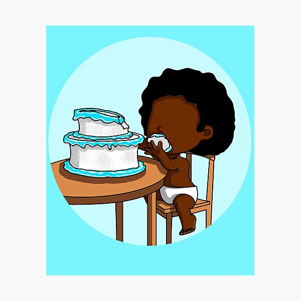 Cake Baby - Black Baby In Pampers Enjoying Birthday Cake Photographic Print