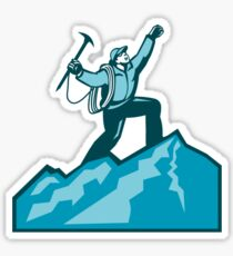 Mountain Climber Summit Retro Sticker
