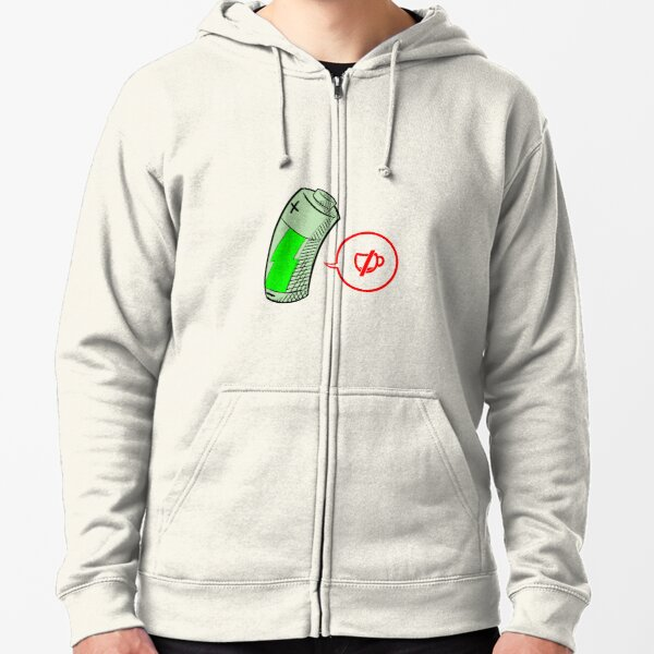 Low Energy - Tired Battery Design Zipped Hoodie