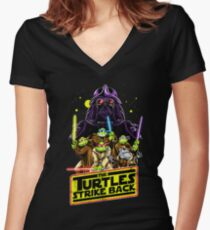 Turtles Strike Back Women's Fitted V-Neck T-Shirt