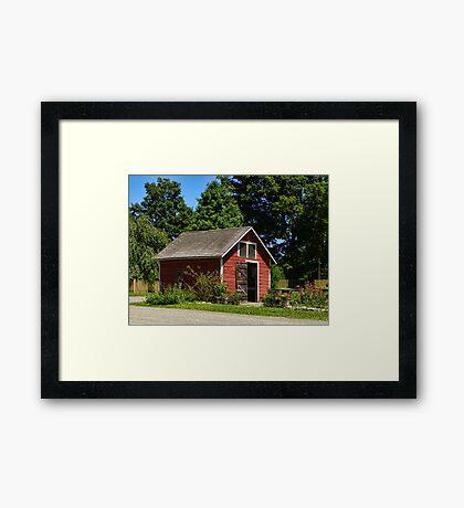 Little Red Barn and Garden Framed Print