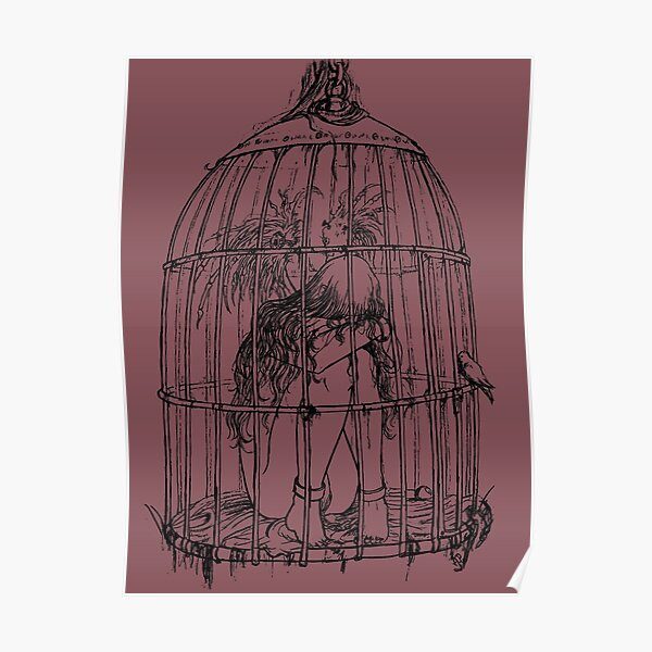 Caged Angel Lineart Drawing Poster