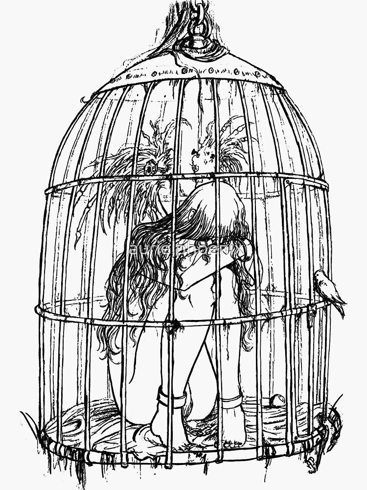 Caged Angel Lineart Drawing by aurielphoenix