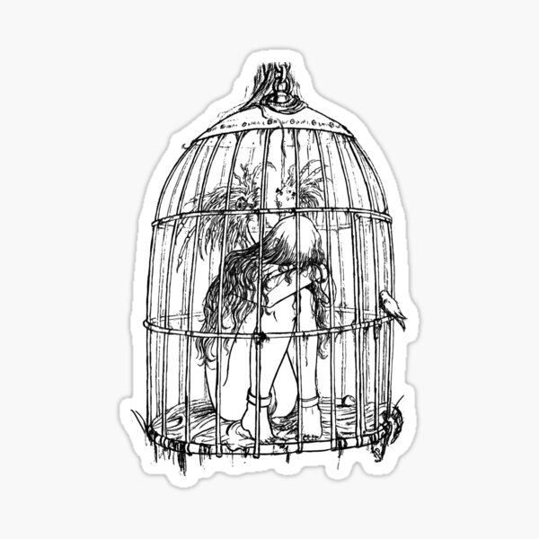 Caged Angel Lineart Drawing Sticker